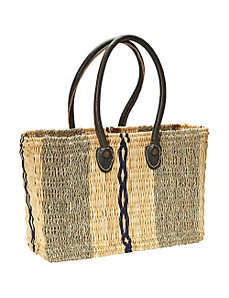 Natural grass tote with leather handles and blues by Medina