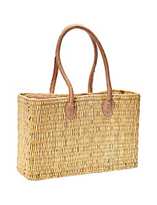Natural grass tote with leather top by Medina