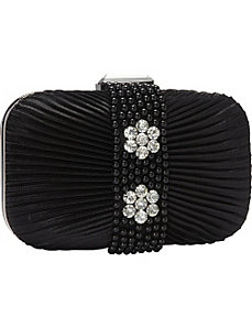 Beaded Pleated Front Box Clutch by Magid