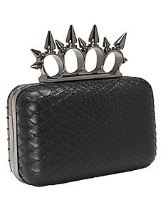Snake Spike Knuckle Box Clutch by Magid