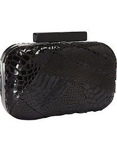 Metalic Snake Print Box Clutch by Magid