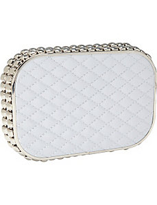 Satin Quilted Side Stud Clutch by Magid