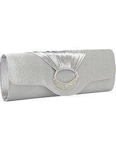 Satin Rhinestone Ring Clutch by Magid