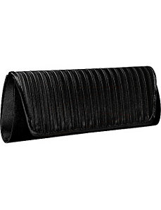 Wide Pleat Satin Clutch by Magid