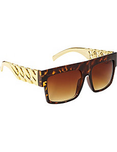Yellow Wood Square Fashion Sunglasses by SW Global