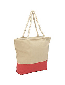 Color Block Canvas Rope Tote by Magid