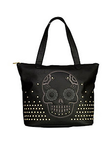 Skull with Studs Tote by Loungefly