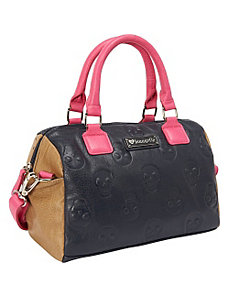 Skull Emboss Colorblock Navy/Pink/Tan Bag by Loungefly