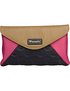 Skull Emboss Colorblock Pink/Tan Clutch by Loungefly