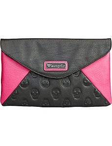 Skull Emboss Colorblock Black/Pink Clutch by Loungefly
