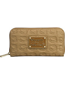 Taupe Hello Kitty Embossed Zip Around Wallet by Loungefly