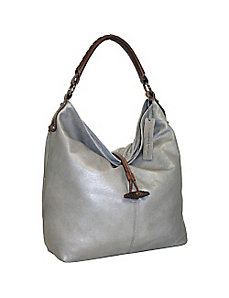 Top Zip Bucket Bag with Knot Closer by Nino Bossi
