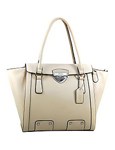 Chic Wide Buckled-Top Fashion Tote by Dasein