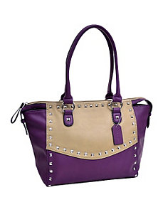 Wide Pyramid Studded Two Tone Shoulder Bag by Dasein