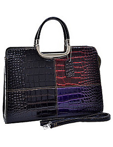 Patent Shine Croco Fashion Briefcase by Dasein