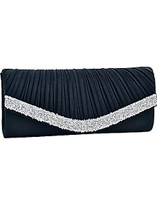 Pleated Crystal Trim Evening Clutch by Dasein