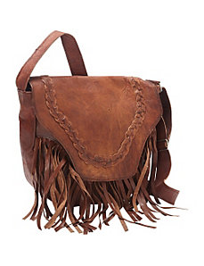 Leather Fringed Western Cross Body Bag by Sharo Leather Bags