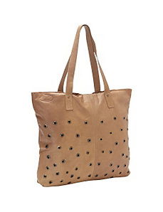 Brass Dotted Leather Tote by Sharo Leather Bags