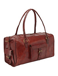 Red Round Duffle Bag with pocket by Sharo Leather Bags