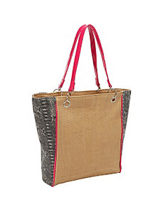 Faux Snake Paper Straw Tote by Magid