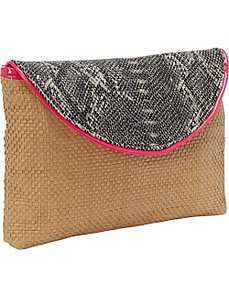 Faux Snake Paper Straw Clutch by Magid