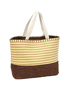 Paper Straw Crochet Bottom Tote by Magid