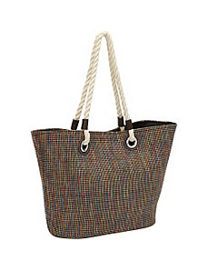 Metallic Plaid Rope Tote by Magid
