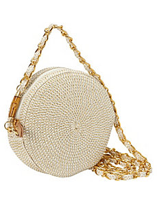 Lurex Paper Straw Circle Crossbody by Magid