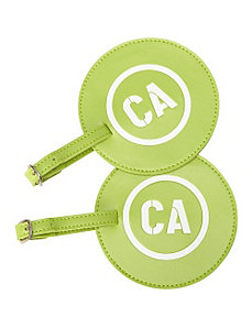 Leather State Initial Luggage Tag CA - Set of 2 by pb travel