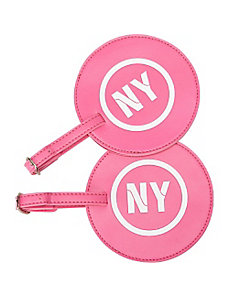Leather State Initial Luggage Tag NY - Set of 2 by pb travel