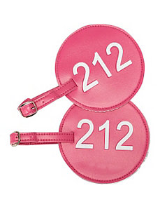 Leather Number Luggage Tag 212 - Set of 2 by pb travel
