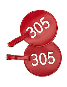 Leather Number Luggage Tag 305 - Set of 2 by pb travel