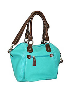 Top Zip Satchel with Cross Body Strap by Punto Uno