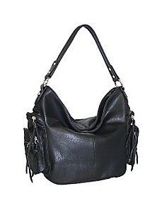 Top Zip Hobo with Side Cargo Pockets by Punto Uno