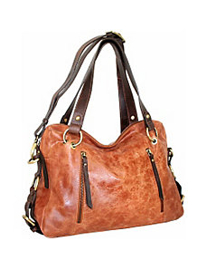 Top Zip Satchel with Front Zip Pockets by Nino Bossi
