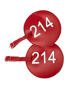 Leather Number Luggage Tag 214 - Set of 2 by pb travel