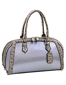 Petite Glossy Glitter Satchel With Ostrich Trim by Dasein