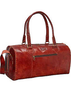Red Round Duffle Bag by Sharo Leather Bags