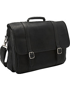 Leather Gusset Laptop Briefcase by Clava