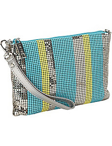 Stripes Shoulder Bag with Wristlet Strap by Whiting and Davis