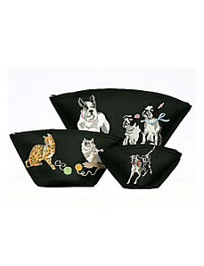 Cats and Dogs Embroidered Cosmetic 3 Piece Set by Sydney Love