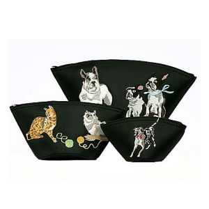 Cats and Dogs Embroidered Cosmetic 3 Piece Set