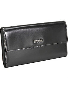 Black Box Calf Leather Checkbook Wallet by Bisadora