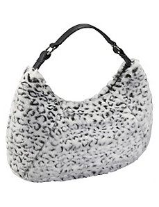 Black and White Faux Fur Large Hobo by Bisadora