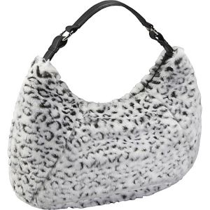 Black and White Faux Fur Large Hobo