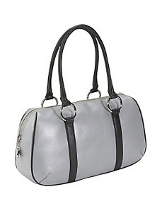 Silver Leather Sporty Satchel by Bisadora