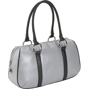 Silver Leather Sporty Satchel