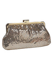 Metal Mesh Shirred Frame Clutch by Whiting and Davis