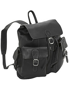 Large Buckle Flap Backpack by Piel