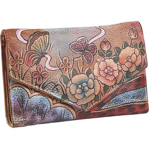 V-Flap Checkbook Wallet - Premium Rose Antique